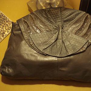 Leather & snakeskin clutch Gray purse Vintage